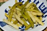 wax and green bean with garlic, lemon juice, oil, mint