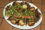grilled sockeye salmon, sauteed maitake mushrooms, grilled potatoes