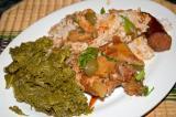 cajun style stewed chicken, matsutake and oyster mushrooms, mustard greens