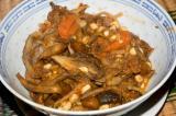 leftover beef stew, enhanced with sauteed wild maitake and honey mushrooms