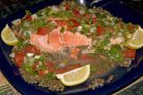 wild copper river salmon en ravigote over green french lentils