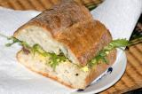 anchovy, soft egg and basil pesto tapenade sandwich
