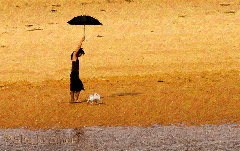 Girl with black umbrella