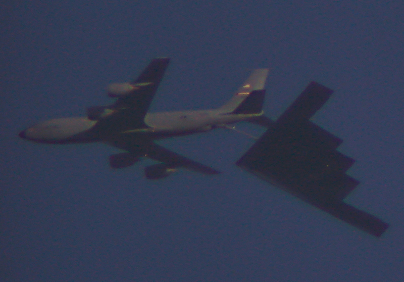 B2 Bomber Refueled by a KC-135 Over Missouri