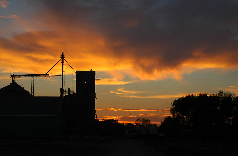 Sunset over the Grain Elevators