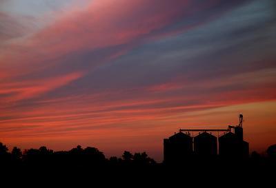 Grain Elevator at Sunset