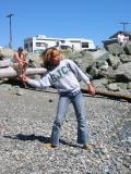 Rachel skipping stones at Kingston ferry terminal