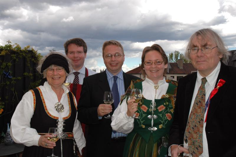 Toasting Norways National Holiday at a post-parade dinner