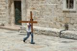 In the courtyard of the Church of the Holy Sepulchre
