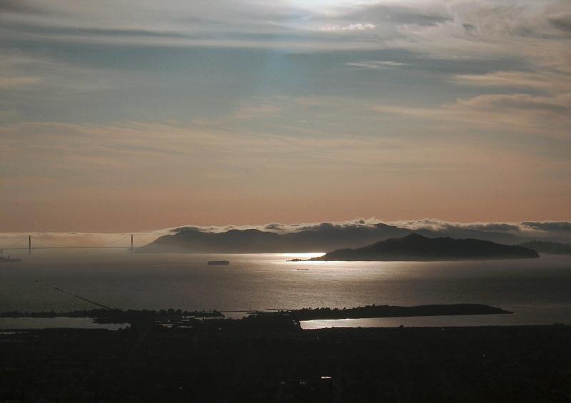 Fog like a tidal wave around Golden Gate Bridge