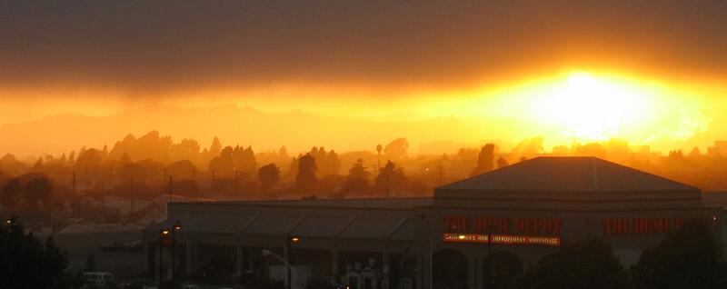 Sundown behind Home Depot thru window
