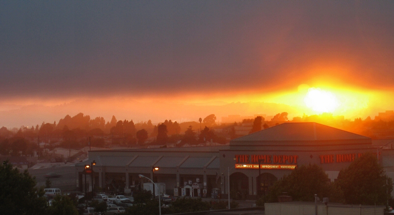 Home Depot at sundown, fuller shot