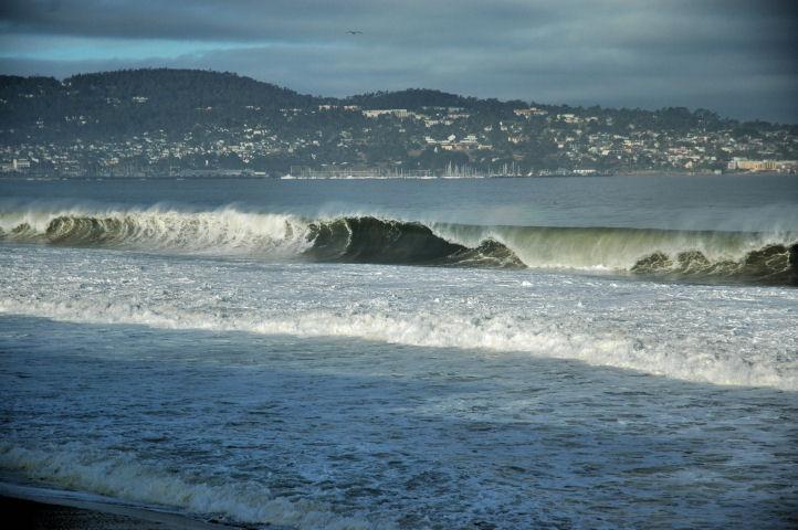 Waves breaking in Monterey Bay