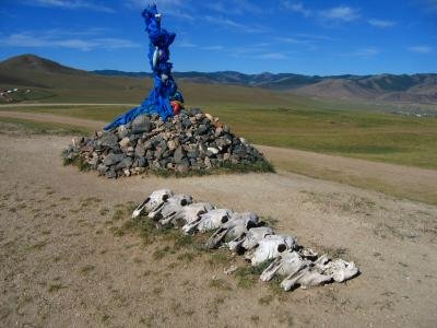 Ovoo and horse skulls