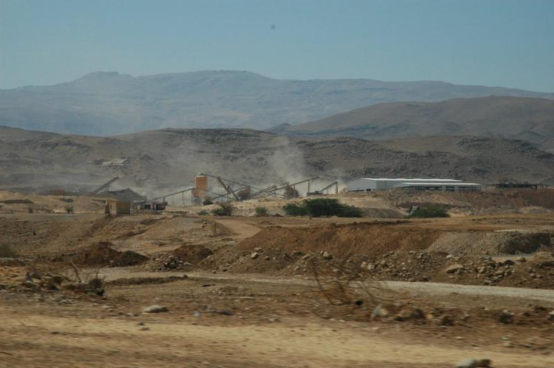A dusty factory in the desert