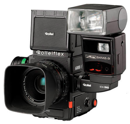 Rollei 6008 AF with Metz flash, lens & hood on