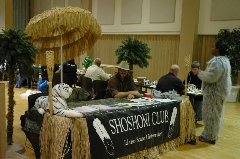 Shoshoni Club Booth and Chess Players at ISU Student Organization Fair 2005 DSC_6627.JPG