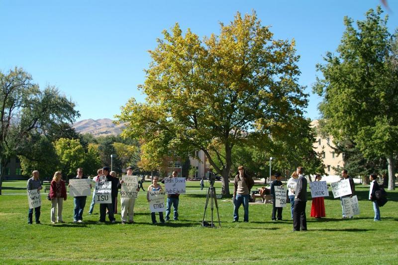ISU Students Protesting on President Richard Bowens Last Day at Work DSCF0062.JPG