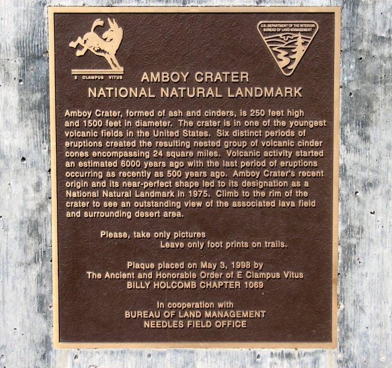 Amboy crater plaque