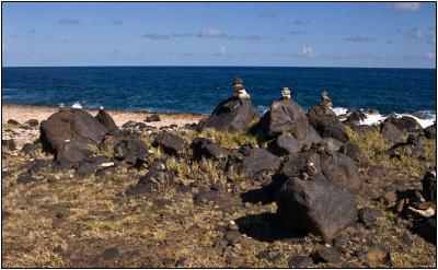 Rock Cairns on Arubas Eastern Shore