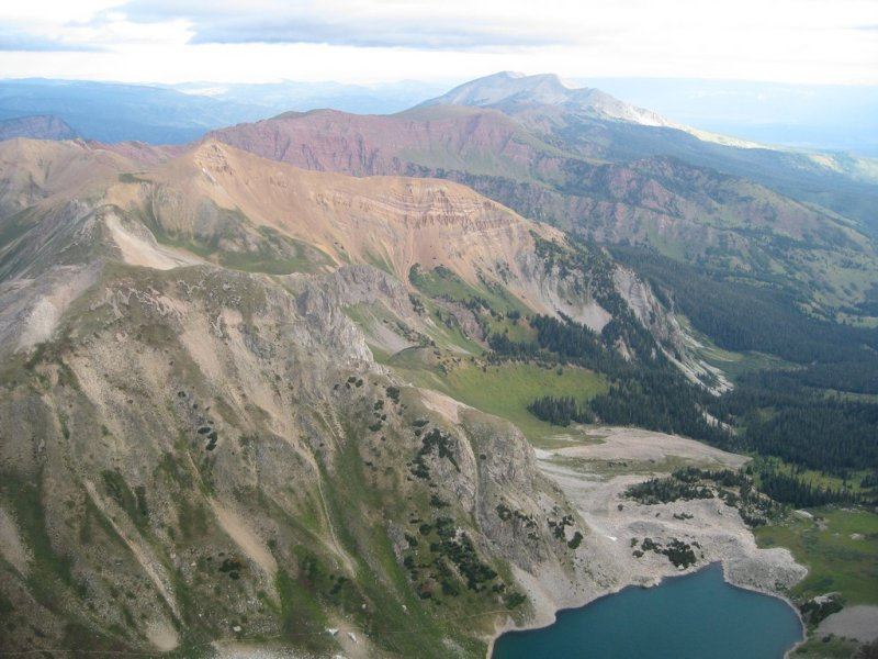 Capitol Creek Drainage, From Summit of K2 (13,664).  Capitol Lake Below