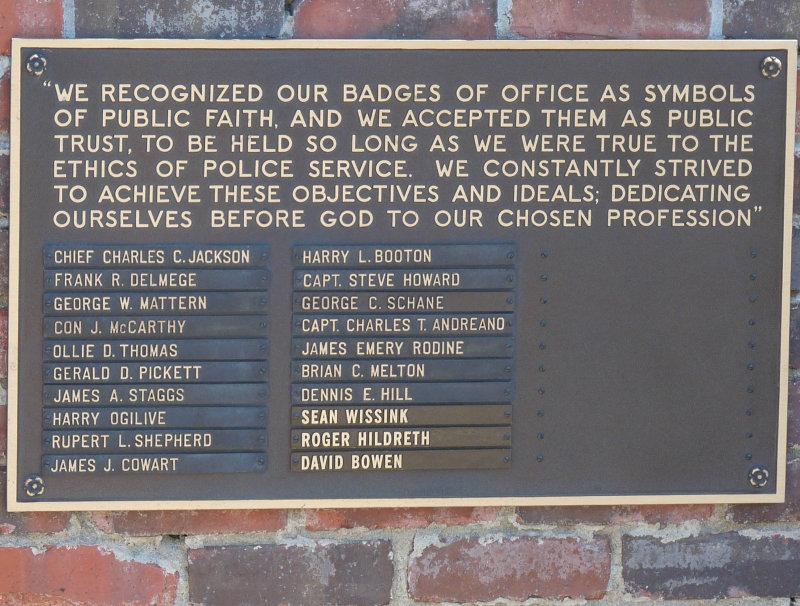 Memorial to fallen officers