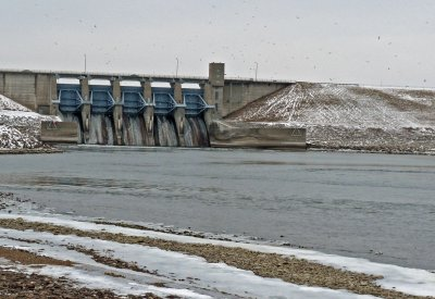 Red Rock dam with gulls