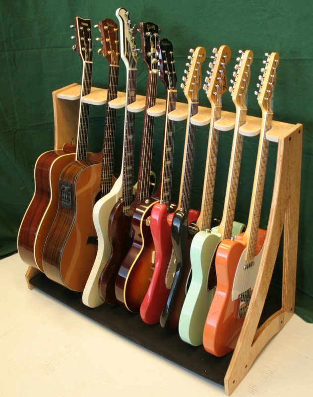 wooden guitar rack