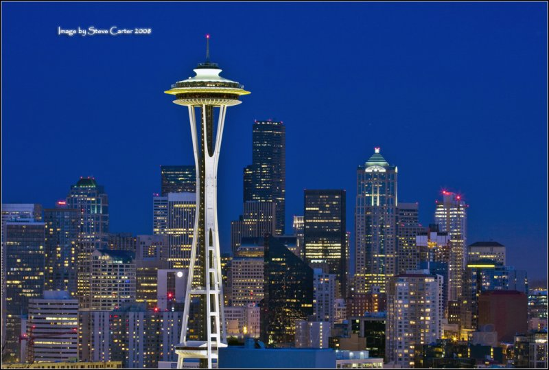 Space Needle and the Seattle Skyline at Dusk