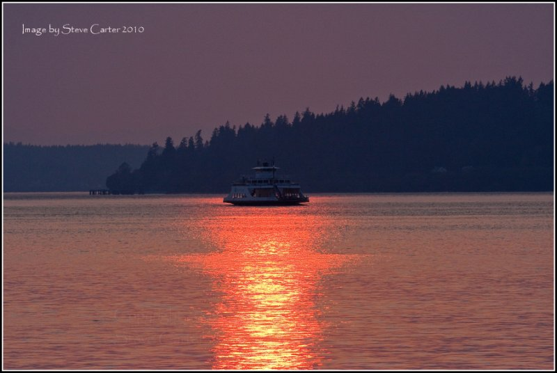 Ferry Boat in a Smokey Sunset