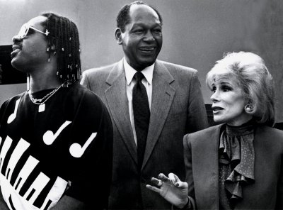 Stevie Wonder, Mayor Tom Bradley, Joan Rivers, 1985
