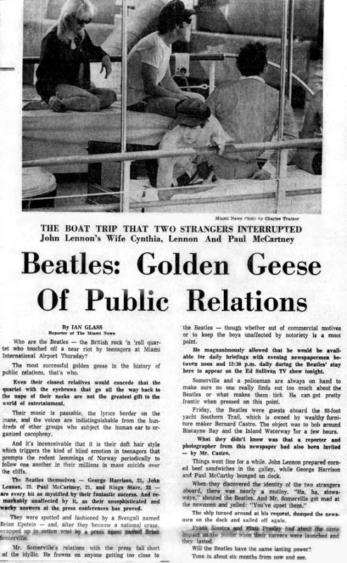1964 - Miami News story about the Beatles arrival and boating in Miami