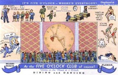 Postcard for the original Five OClock Club at 215 22nd Street, Miami Beach