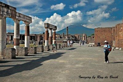 Excavations of the City of Pompeii with Mount Vesuvius in the background
