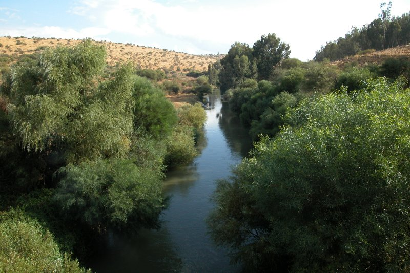 The Jordan River - seen as we were traveling south from the Golan Heights
