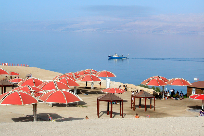 A private beach at a hotel in Ein Gedi on the Dead Sea. This was the only boat we saw on the Dead Sea.