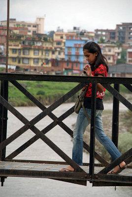 Crossing the Bridge over Bagmati River