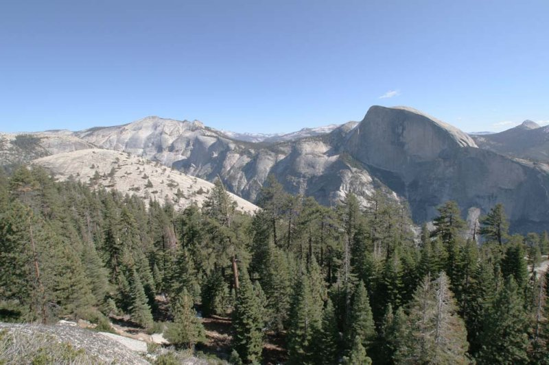 Half Dome, with Clouds Rest to the left, Basket Dome in foreground.