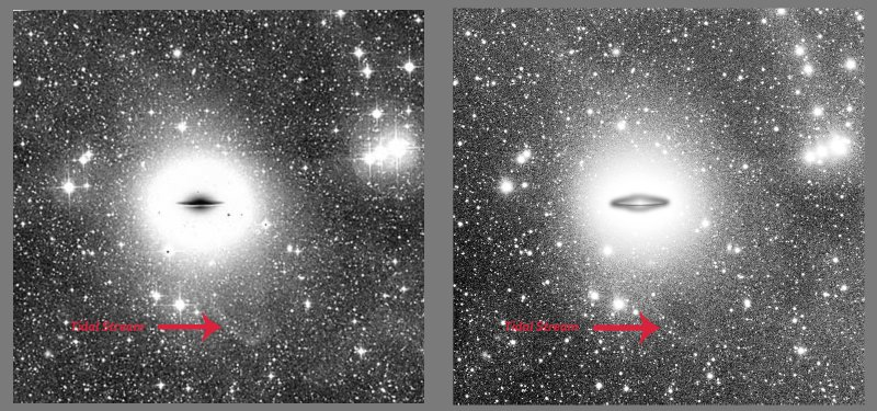 Faint extensions and tidal stream around M104