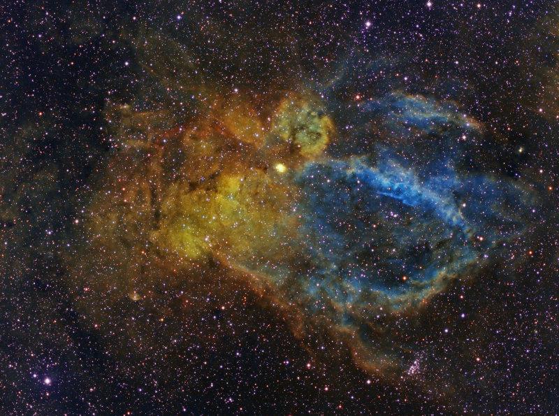 Sh2-157 (Lobster Claw Nebula) in HST palette
