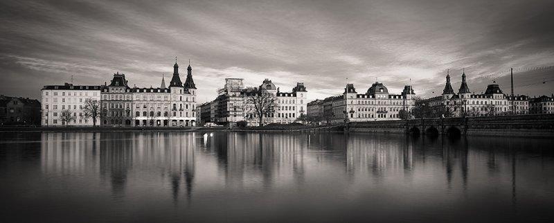 Copenhagen After Dark Cloudscape in Duotone