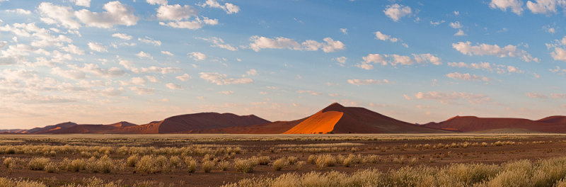 Sossusvlei Dunes at Sunrise Panorama