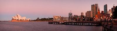 Sydney Opera House and Circular Quay at dusk