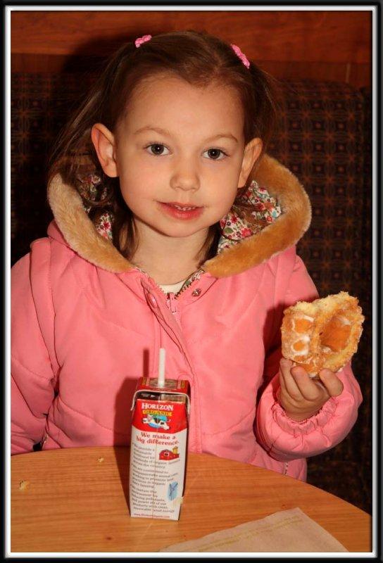 Noelle was happy Starbucks had donuts