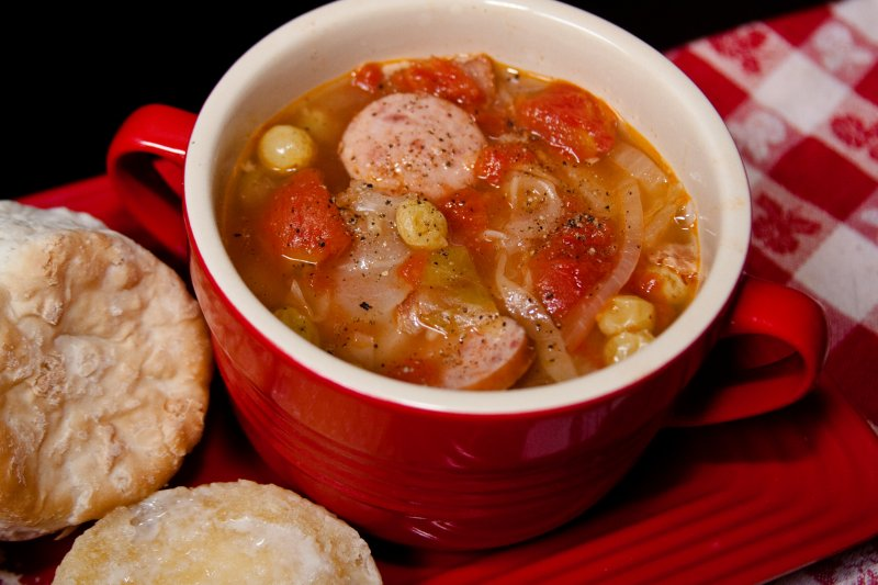 Cabbage Soup with Paprika, Kielbasa, and Raisins