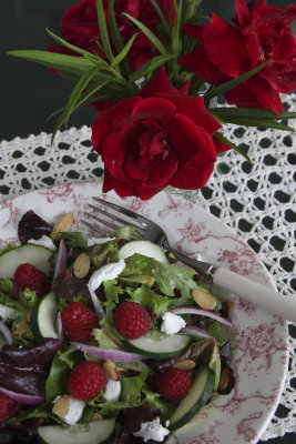 Raspberry Goat Cheese Salad with Sweet-and-Sour Dressing