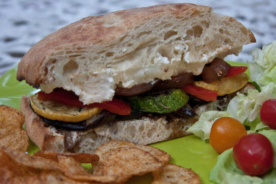 Grilled Vegetable and Goat Cheese on Ciabatta