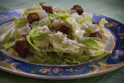 Blue Cheese Caesar Salad with Pumpernickel Croutons