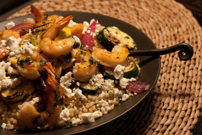 Grilled Shrimp and Vegetables with Pearl Couscous