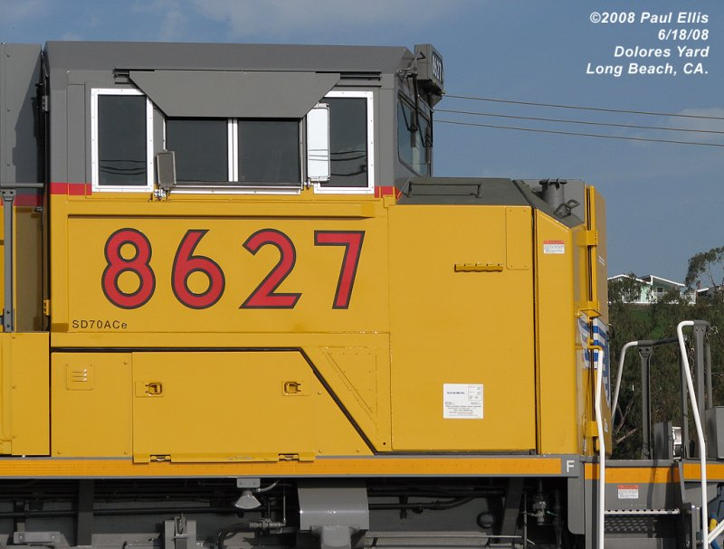 UP SD70ACe 8627 Isolated Cab Detail
